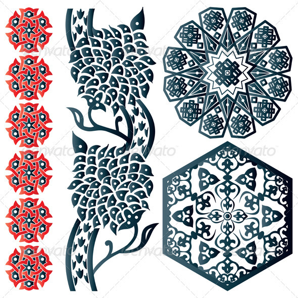 Blue and red Islamic design element