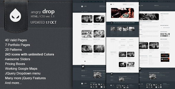 ThemeForest ANGRY DROP Premium HTML Template 576234