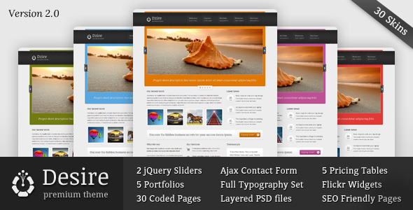 Desire - Business & Portfolio HTML/CSS Theme - Creative Site Templates