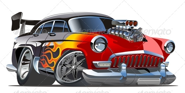 Vector Cartoon Retro Hotrod