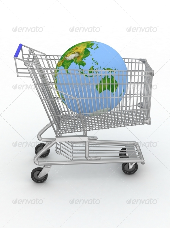 Shopping Cart with a Globe on a white - Stock Photo - Images