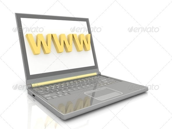 Modern Laptop isolated on white - Stock Photo - Images
