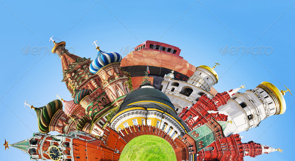 collage of sights of Moscow - Stock Photo - Images