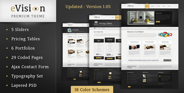 ThemeForest eVision Business & Portfolio Theme HTML CSS 234570