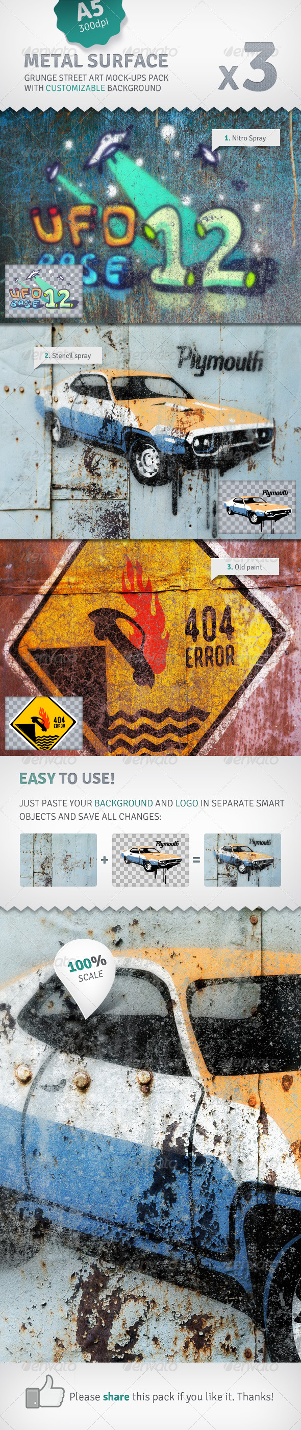 GraphicRiver Metal Surface 3 Graffiti Street Art Mockups 2577209