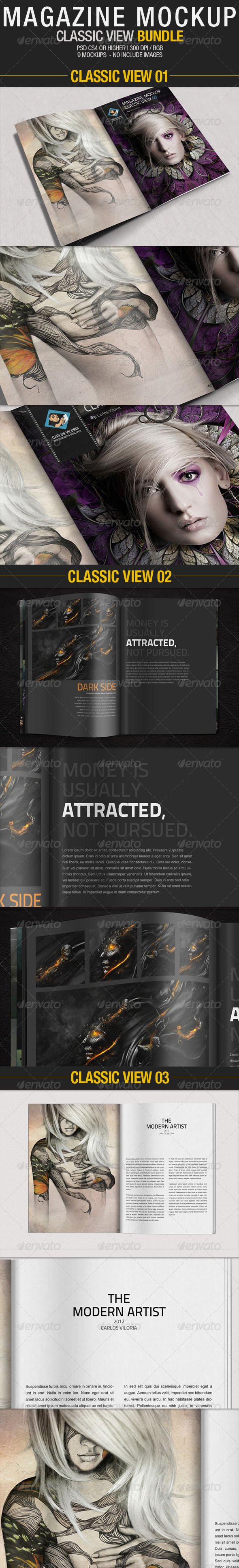 GraphicRiver Magazine Mockup Classic View Bundle 2577302