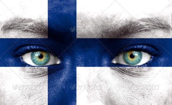 Human face painted with flag of Finland - Stock Photo - Images