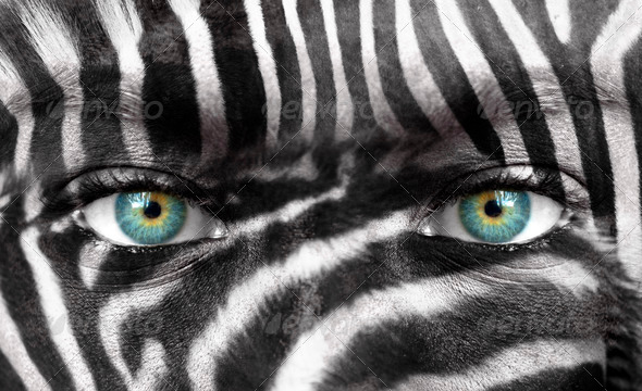 Human face with Zebra pattern - Save endangered species concept - Stock Photo - Images