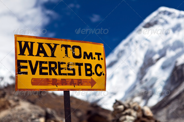 Mount Everest signpost - Stock Photo - Images