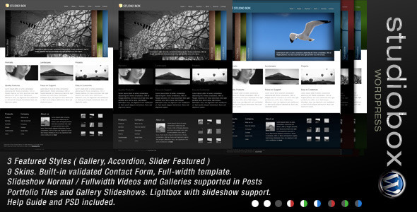 ThemeForest Studio Box Premium Wordpress 9 in 1 92483