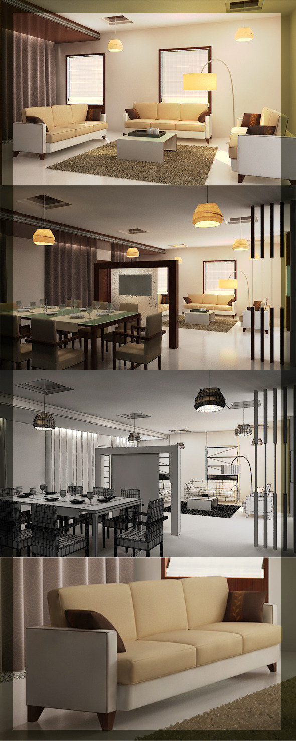 3DOcean Realistic Living & Dining interior 3D 2579380