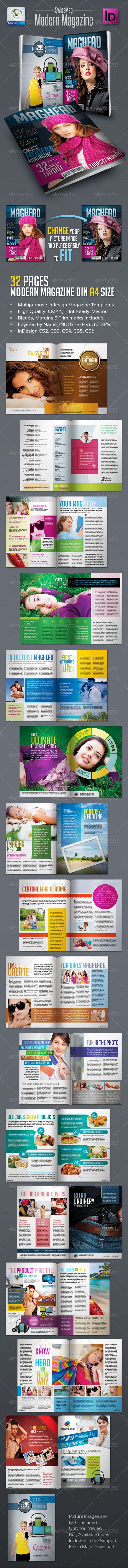 SwissMag Modern Magazine Templates 32pages - Magazines Print Templates