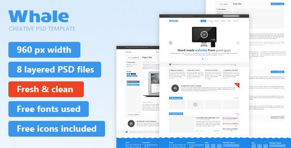 Whale - Creative PSD Template - Creative PSD Templates
