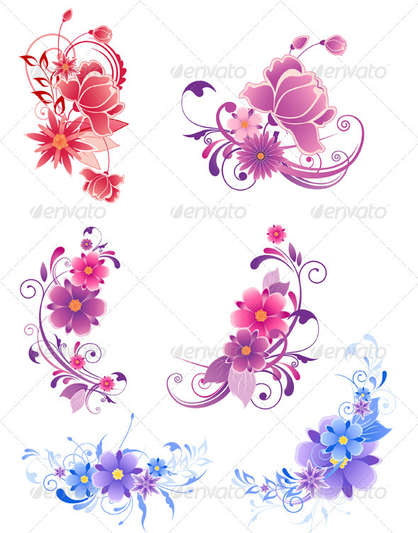 Floral Decorative Elements  - Flourishes / Swirls Decorative