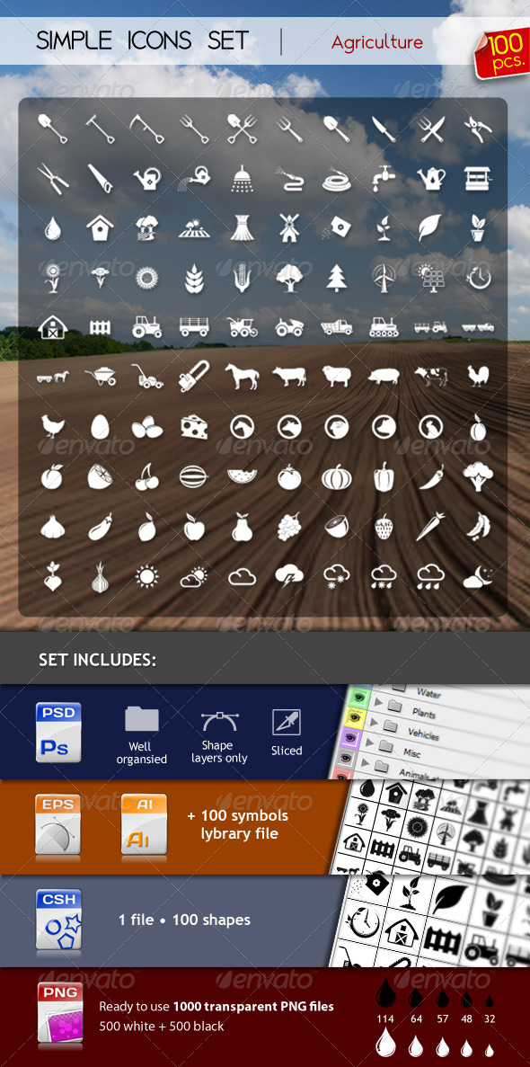 GraphicRiver 100 Simple Icons AGRICULTURE 2559982