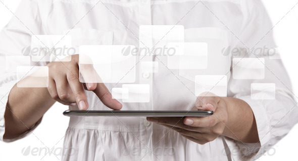 hands holding a touch pad and virtual buttons - Stock Photo - Images