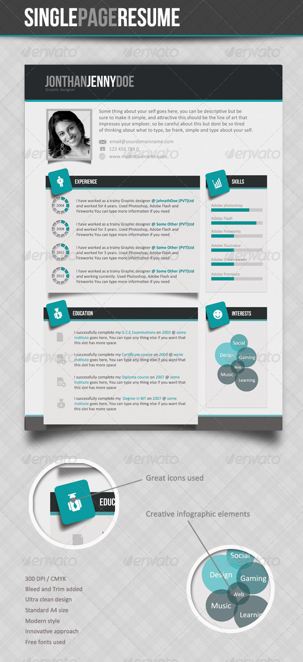 Clean Single page Resume - Resumes Stationery