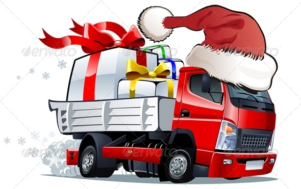 Cartoon Christmas Truck - New Year Seasons/Holidays