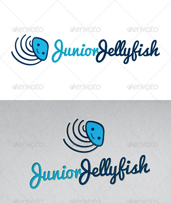 Junior Jellyfish Mascot Logo - Animals Logo Templates
