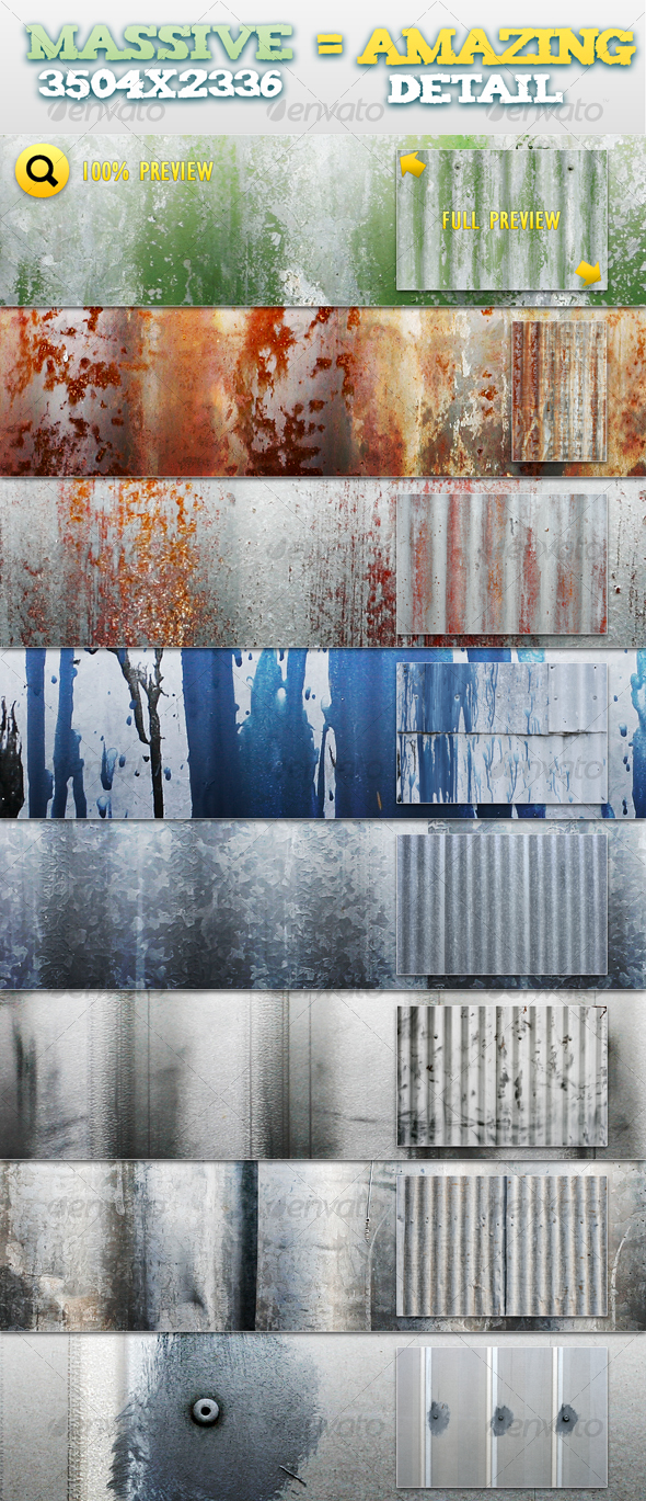 GraphicRiver Corrugated Metal Pack 1 90182