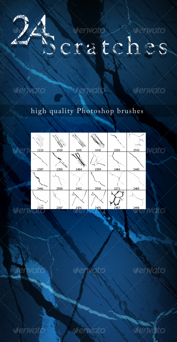 GraphicRiver 24 Scratch Brushes 93828