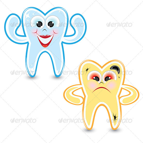 GraphicRiver Cartoon healthy and diseased tooth 2581823