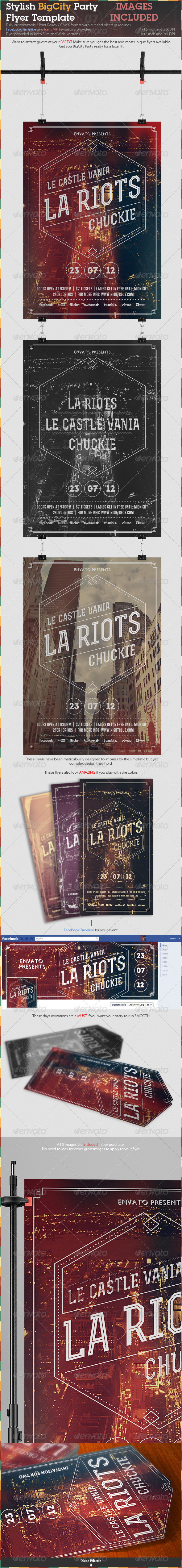 Stylish BigCity Party Flyer Template - Clubs & Parties Events