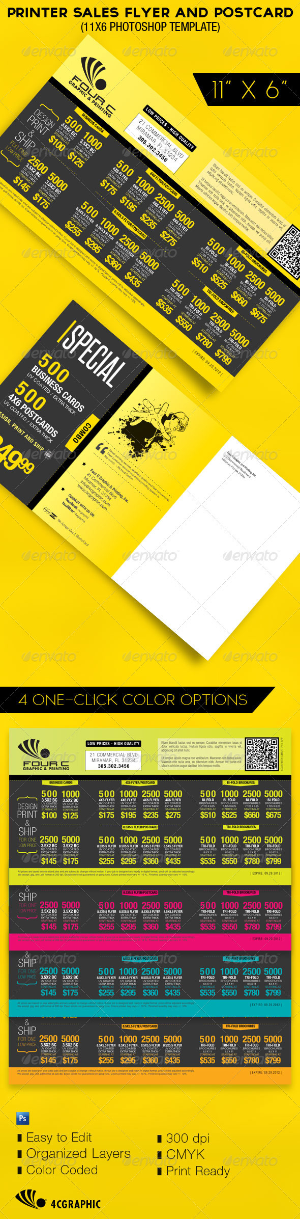 Printer Sales Flyer and Postcard Template - Commerce Flyers