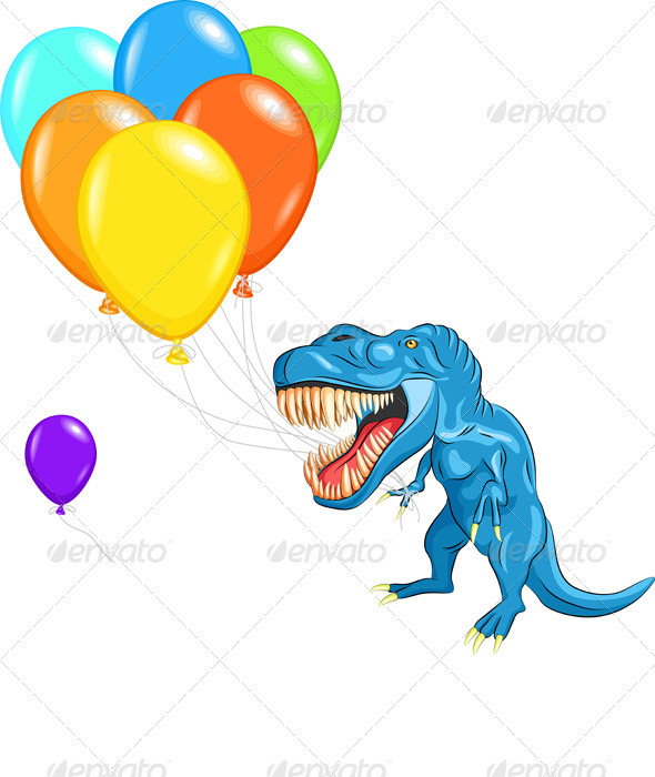 GraphicRiver Vector Happy Blue Dinosaur Tyrannosaurs 2582722