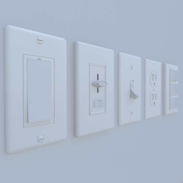 Wall Switches and Outlet Bundle - 3DOcean Item for Sale
