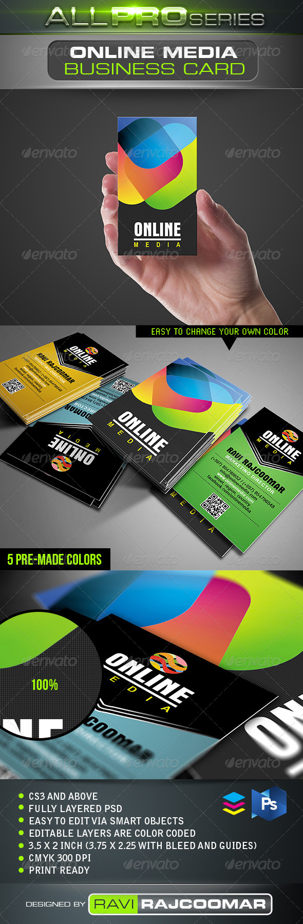 Online Media Business Card - Business Cards Print Templates