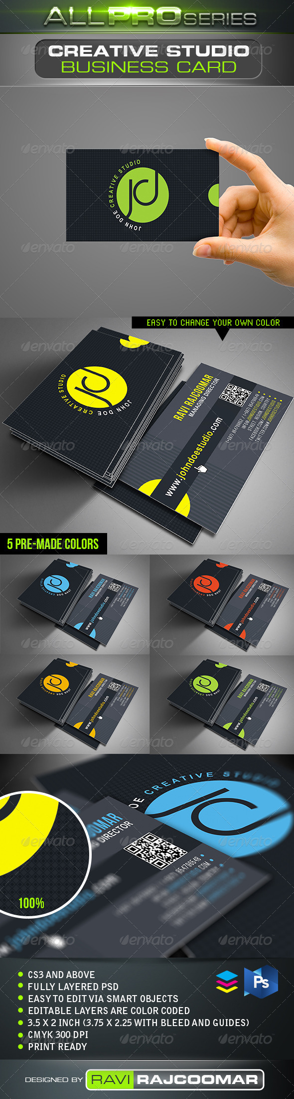 Creative Studio Business Card  - Business Cards Print Templates