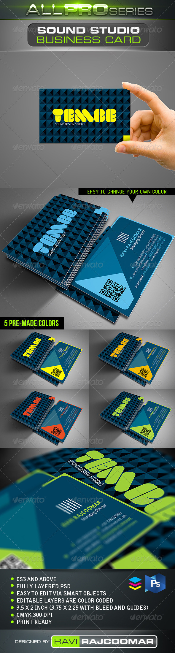 Sound Studio Business Card - Business Cards Print Templates
