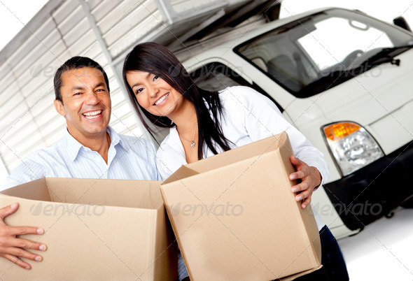 Couple moving house - Stock Photo - Images