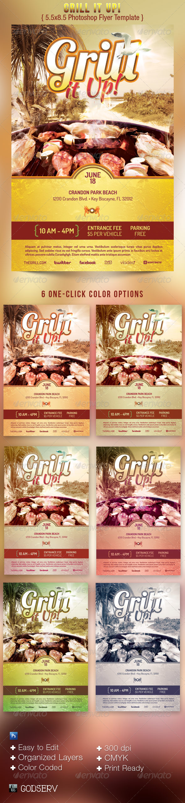 GraphicRiver Grill It Up Flyer Template 2455419