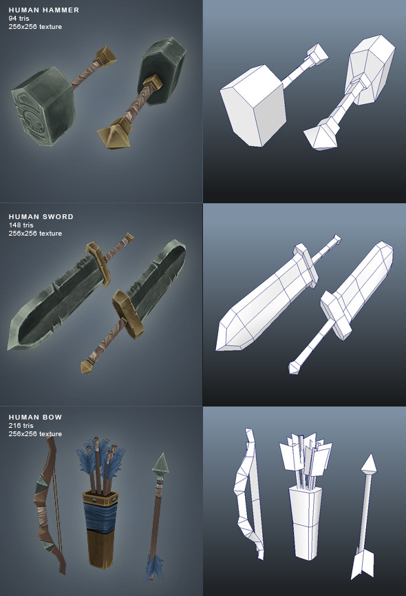 3DOcean Human Weapons Low Poly 2583572