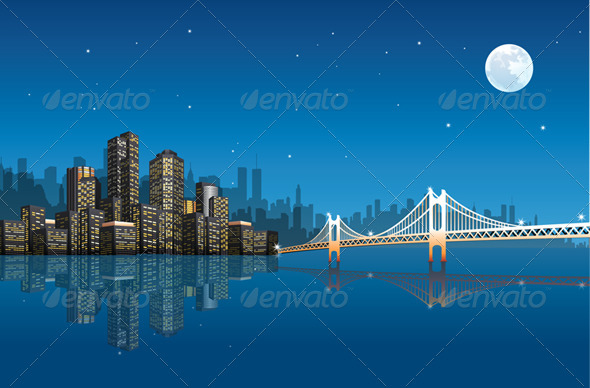 Vector City At Night - Buildings Objects