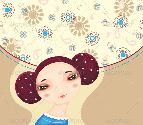 Stock Vector   GraphicRiver Girl Face Flower Cover 2583722