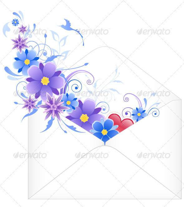 Envelope with Blue Flowers - Decorative Symbols Decorative