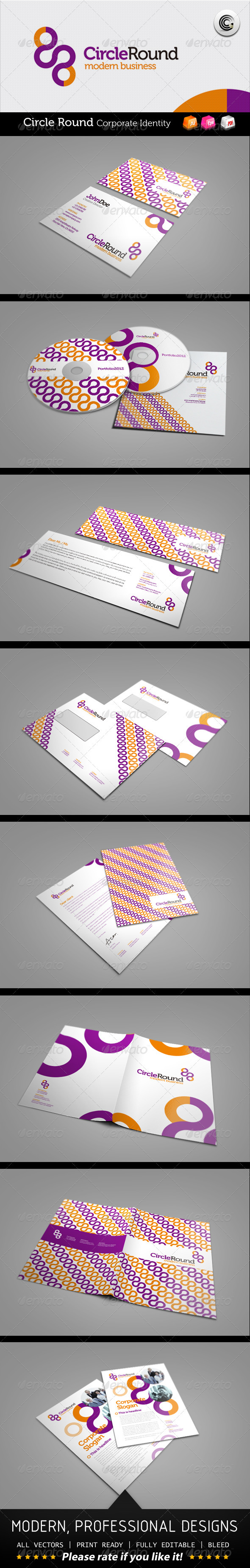 Circle Round Modern Business Corporate Identity - Stationery Print Templates