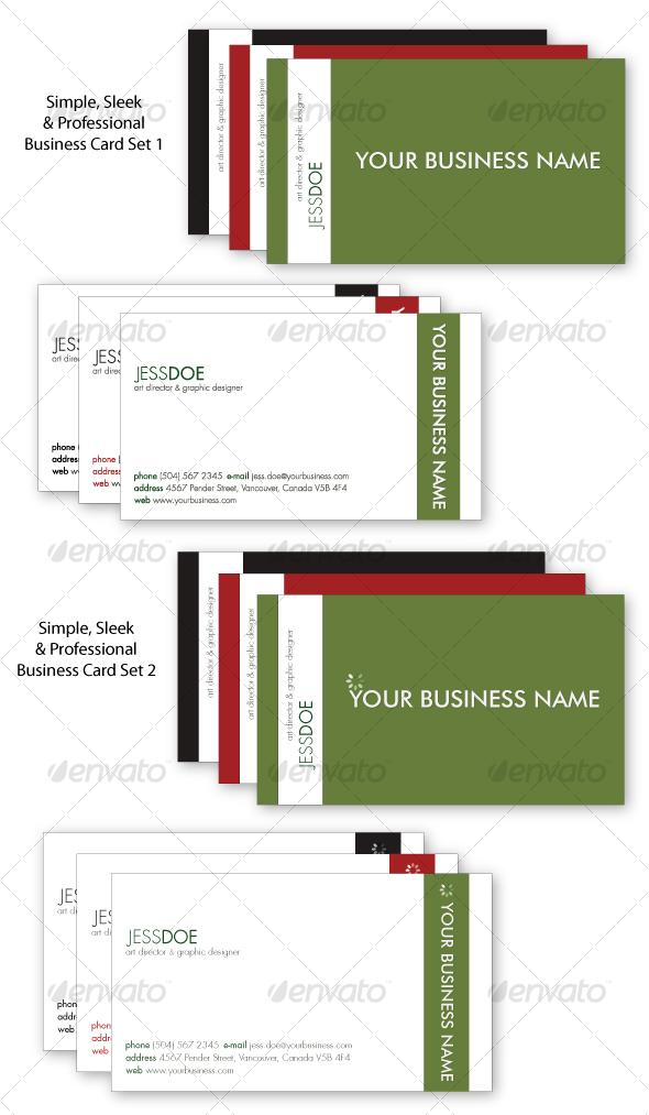 Simple Sleek & Professional Business Card Set