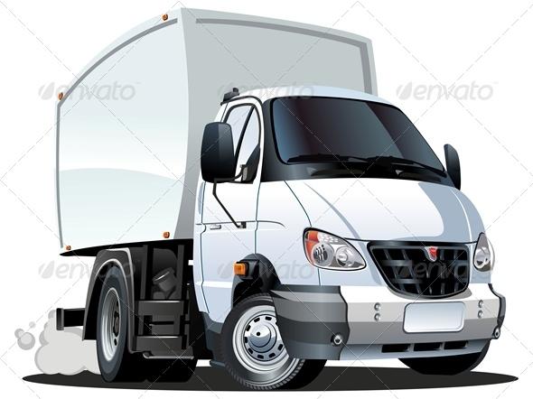Vector Cartoon Cargo Truck - Man-made objects Objects