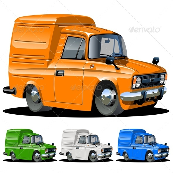 Cartoon Delivery Cargo Van - Man-made Objects Objects