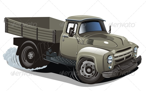 Cartoon Flatbed Truck - Man-made objects Objects