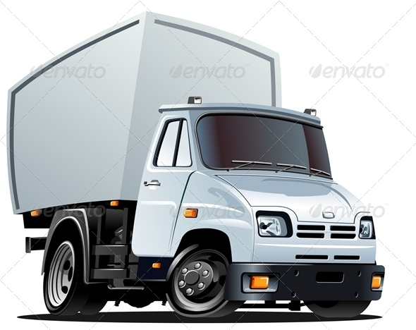 Vector Cartoon Delivery Cargo Truck - Man-made objects Objects