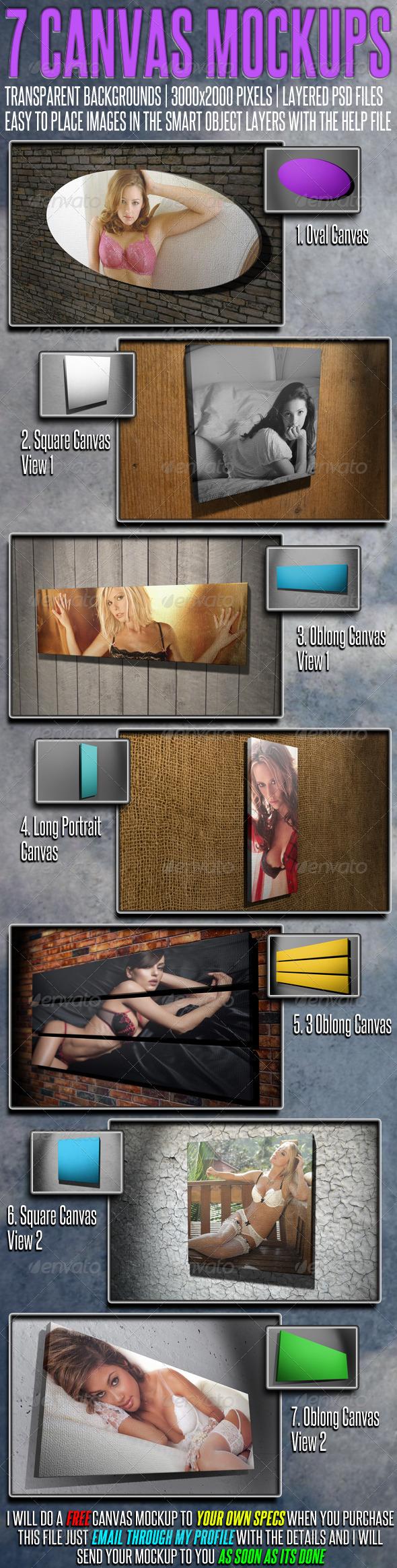 GraphicRiver 7 More Canvas Mock Ups 2585011