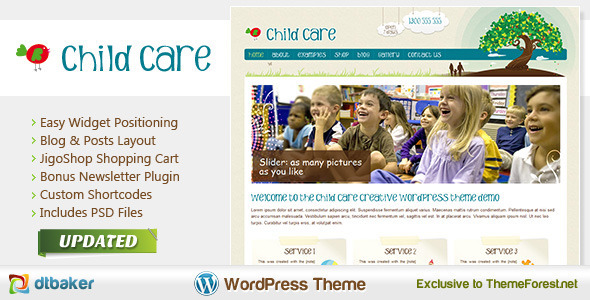 Child Care - Theme de Tienda para productos infantiles en WordPress