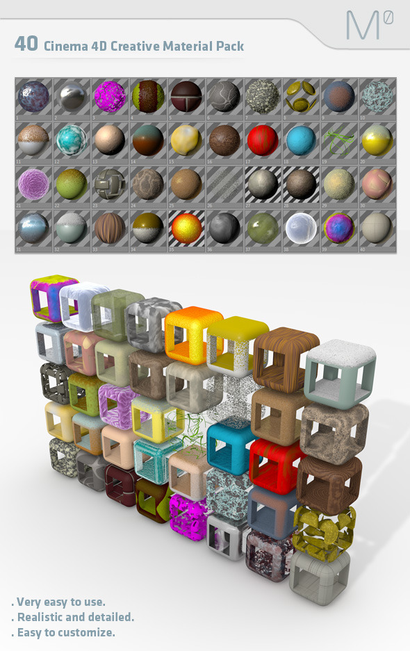 40 Cinema 4d Creative Material Pack - 3DOcean Item for Sale
