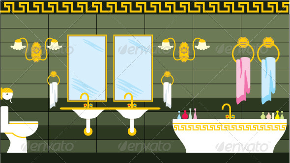 Bathroom in the Greek style - Objects Vectors