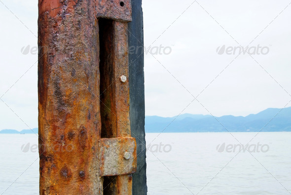 Steel columns  massive rusty at the wharf. - Stock Photo - Images